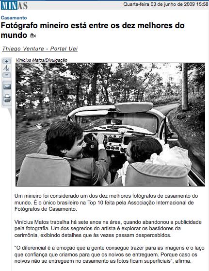Matéria no portal do Estado de Minas